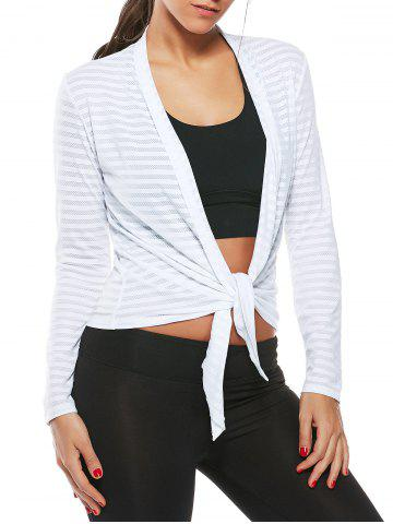 Best Collarless Quick Dry Front Wrap Top WHITE L