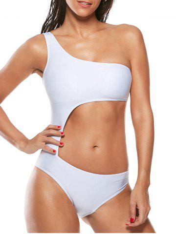 Chic One Shoulder Cut Out One-Piece Swimsuit WHITE S