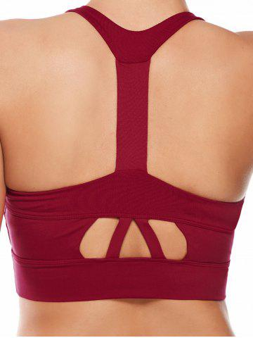 Cheap Cutout Padded Cropped Sports Racerback Bra - L RED Mobile