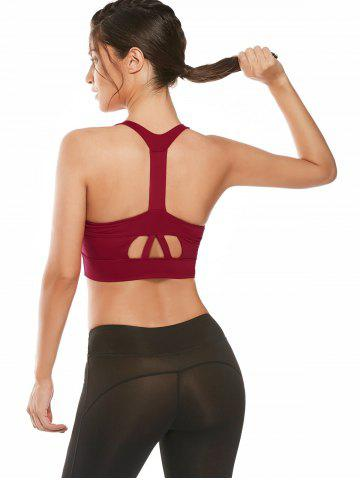 Best Cutout Padded Cropped Sports Racerback Bra - L RED Mobile
