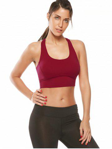 Outfits Cutout Padded Cropped Sports Racerback Bra - L RED Mobile