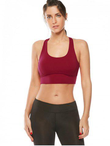 Discount Cutout Padded Cropped Sports Racerback Bra - L RED Mobile