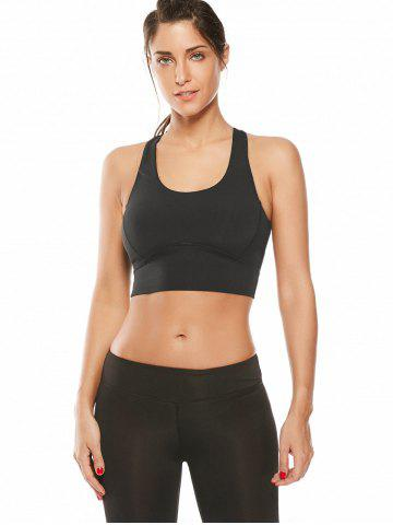 Outfits Cutout Padded Cropped Sports Racerback Bra - L BLACK Mobile