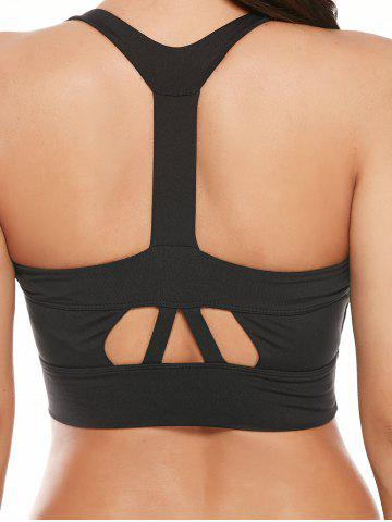 Outfit Cutout Padded Cropped Sports Racerback Bra - L BLACK Mobile
