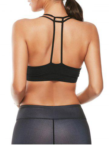 Unique Caged Strappy Padded Sports Bra - S BLACK Mobile
