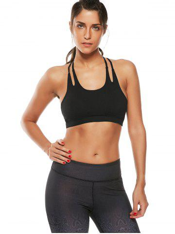 Outfit Caged Strappy Padded Sports Bra - M BLACK Mobile