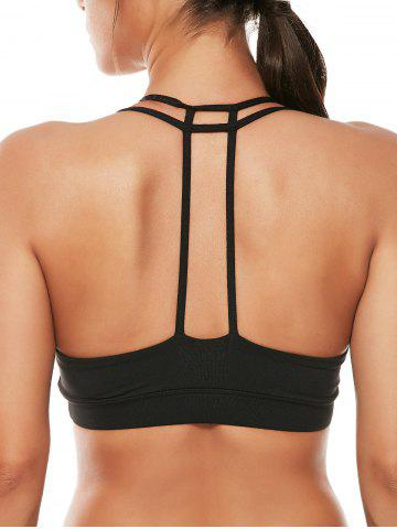 Shop Caged Strappy Padded Sports Bra - M BLACK Mobile
