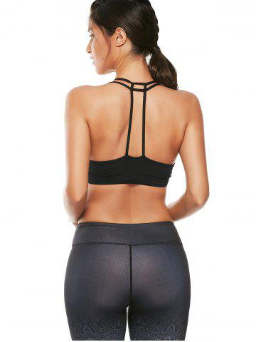 Latest Caged Strappy Padded Sports Bra - M BLACK Mobile