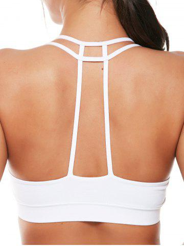 Best Caged Strappy Padded Sports Bra - L WHITE Mobile