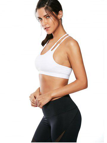 Shop Caged Strappy Padded Sports Bra - L WHITE Mobile