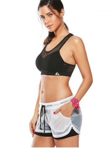 Chic Fishnet Mesh Racerback Sports Padded  Bra - BLACK M Mobile