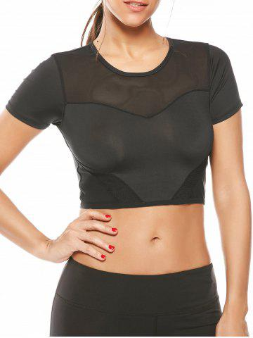 Fancy Mesh Panel Running Gym Cropped T-Shirt BLACK S