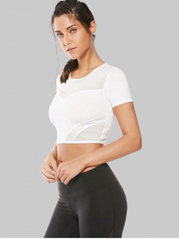 Fancy Mesh Panel Running Gym Cropped T-Shirt - S WHITE Mobile