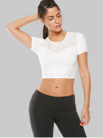 Outfits Mesh Panel Running Gym Cropped T-Shirt - S WHITE Mobile