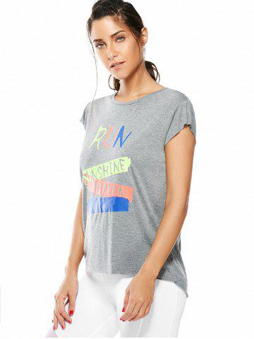 Shop Letter Running Gym Graffiti T-Shirt - ONE SIZE GRAY Mobile