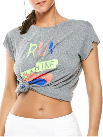 Outfits Letter Running Gym Graffiti T-Shirt - ONE SIZE GRAY Mobile