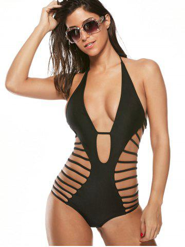 Buy Halter Cut Out Strappy Swimsuit - XL BLACK Mobile