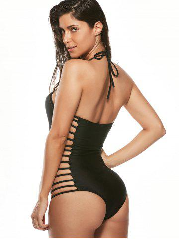Best Halter Cut Out Strappy Swimsuit - XL BLACK Mobile