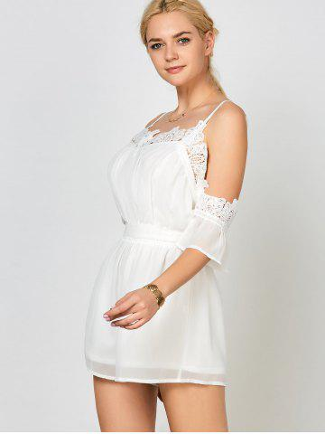 Outfits Lace Panel Chiffon Cold Shoulder Romper - S WHITE Mobile
