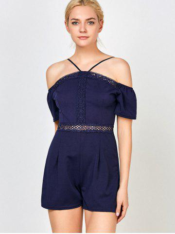 Outfits Lace Insert High Waisted Halter Romper - L PURPLISH BLUE Mobile