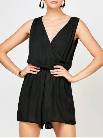 New Sleeveless Surplice Ruched Romper with Pockets BLACK M