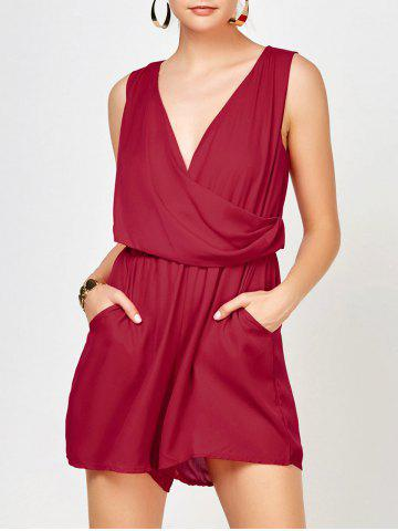 Unique Sleeveless Surplice Ruched Romper with Pockets RED XL
