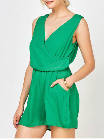 Fancy Sleeveless Surplice Ruched Romper with Pockets GREEN XL