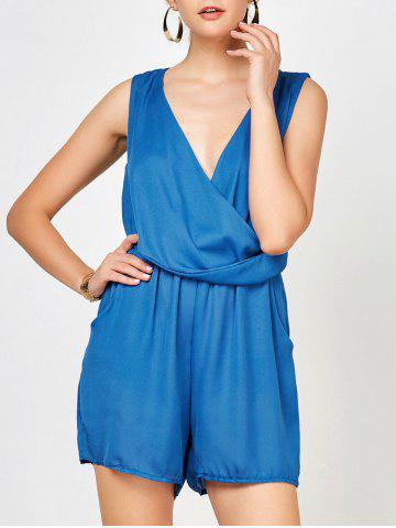 Online Sleeveless Surplice Ruched Romper with Pockets BLUE XL