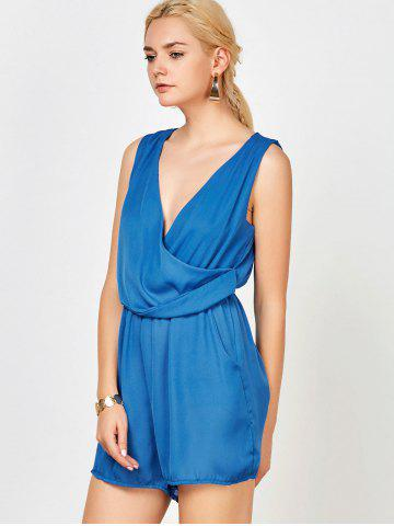 Store Sleeveless Surplice Ruched Romper with Pockets - S BLUE Mobile