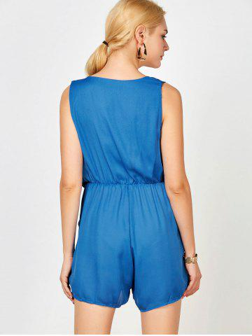 Cheap Sleeveless Surplice Ruched Romper with Pockets - S BLUE Mobile