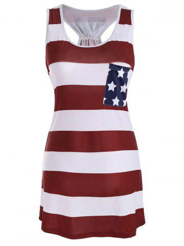 Fashion Sleeveless Racerback Bowknot American Flag Patriotic T Shirt Dress DEEP RED S