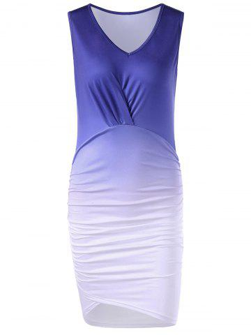 Cheap V Neck Bodycon Ombre Ruched Sheath Dress - L COLORMIX Mobile