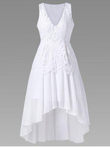 Chiffon High Low Tea Length Wedding Guest Dress - White - M