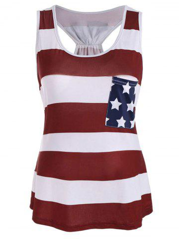 Shop American Flag Print Patriotic Racerback Tank - XL DEEP RED Mobile