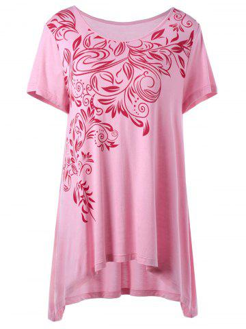 Unique Bandana Floral High Low Hem Plus Size T-Shirt - 5XL PINK Mobile