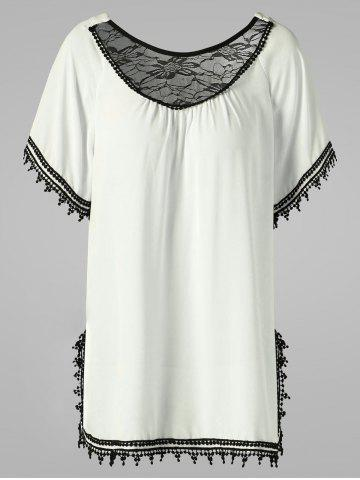 Discount Lace Trim Side Slit Blouse - 2XL OFF-WHITE Mobile