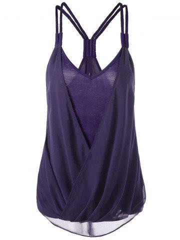 Outfits Crossover High Low Hem Racerback Tank Top PURPLE 2XL