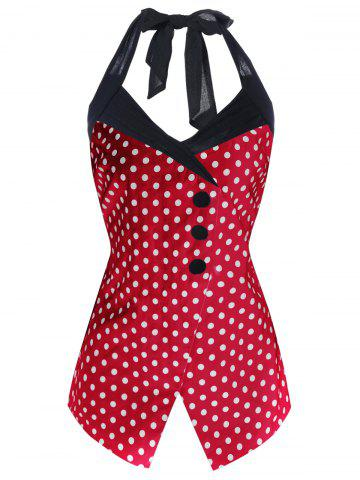 Outfits Polka Dot Plus Size Retro Halter Dressy Top - XL RED Mobile