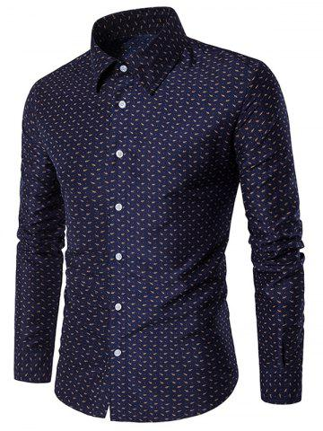 Fancy Long Sleeve Casual Printed Shirt - XL BLUE Mobile