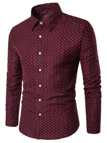Chic Long Sleeve Casual Printed Shirt - XL RED Mobile