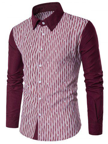 Discount Allover Printed Colorblocked Long Sleeve Shirt - L RED Mobile