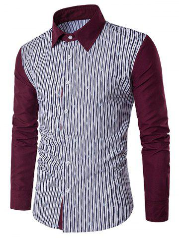Outfit Allover Printed Colorblocked Long Sleeve Shirt - L WHITE Mobile