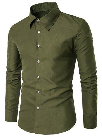 Shop Slim Fit Long Sleeve Shirt - L ARMY GREEN Mobile