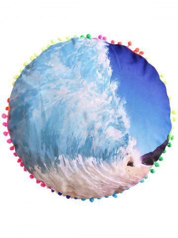 Online Sea Wave Sofa Decoration Round Pouf Pillow Case - DIAMETER: 45CM BLUE Mobile