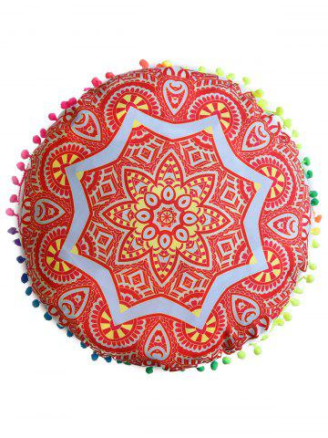 Latest Mandala Round Cushion Floor Pillow Pouf Cover - DIAMETER: 45CM ORANGE RED Mobile