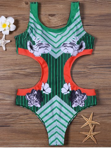 Store Floral and Striped Padded One-Piece Swimsuit - XL GREEN Mobile