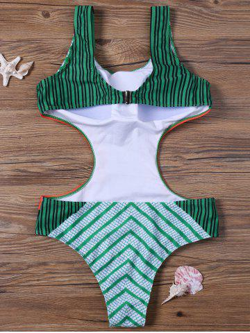 Cheap Floral and Striped Padded One-Piece Swimsuit - XL GREEN Mobile