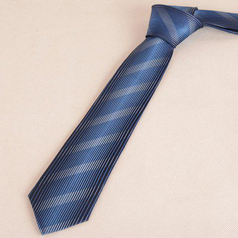 Trendy Diagonal Straight Stripe Mulberry Silk Tie - CADETBLUE  Mobile