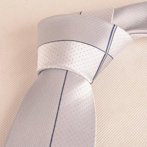 Discount Tiny Dot Pinstriped Mulberry Silk Tie - FROST  Mobile