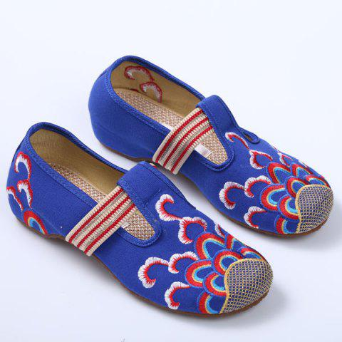 Shops Striped Pattern Embroidery Flat Shoes - 37 ROYAL Mobile